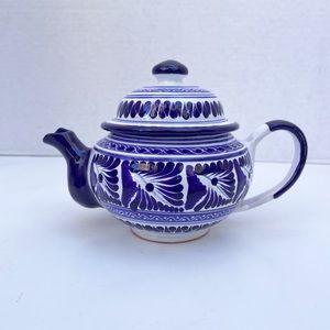 Mexican Talavera tea pot ceramic coffeepot blue